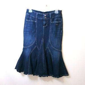 Candie's Mermaid Style Denim Jean Skirt